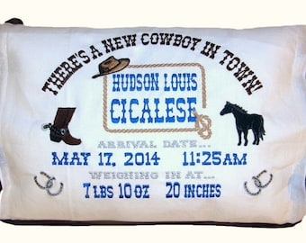Personalized Baby Boy Birth Announcement Pillow Cowboy/Cowgirl Design