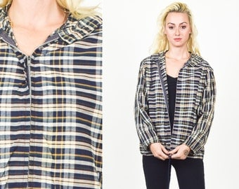 90's PLAID HOODIE Coat. Navy Blue and Cream. 90's Grunge Mod. Windbreaker Zipper Hoodie. Cropped jacket. Size Small Medium.