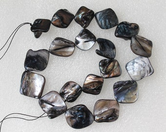 Full Strand Mother of Pearl Shell Freeform Square Black Silver AB Nugget Beads 20 Pcs