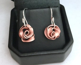 Copper Roses Sculptural Metalwork with Sterling Silver Earwires