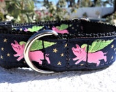 "New 1"" width Dog Collar When Pigs Fly Quick Release buckle collar adjustable - see 1.5"" wide collar link within"