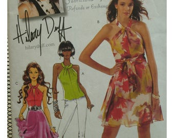 Hilary Duff Twisted Front Halter Dress Pattern, Top, Flared Skirt, Open Back, Fitted Bodice, McCalls No. 5802 Size 4 6 8