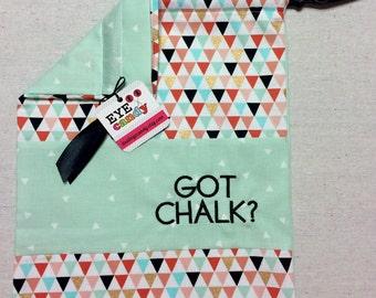 Item(C8) Personalized Gymnastics Grip Bag Got Chalk Triangles Cream Mint