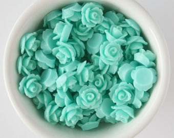 6 Piece Aquamarine 10mm Cabochon Rosette Flowers DIY Earrings Bobby Pins