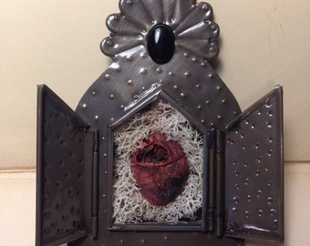LAST ONE - Altar Style Wall Display with Real Dry Preserved Feline Heart in Lichen