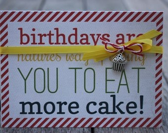 Birthday Card, Eat More Cake Birthday Card, Blank Birthday Card with Silver Cupcake, Cupcake Birthday Card