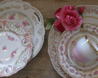 Vintage English china, set of 5, plates, platter, tea cup, pink English roses, gold leaf, Royal George Ware, wedding, Shabby Chic holiday