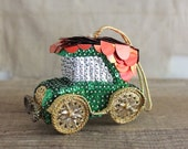 RESERVED Vintage Sequin and Bead Car Ornament