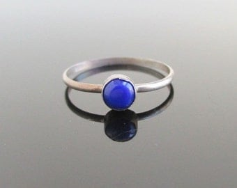 925 Sterling Silver & Deep Blue Inlay Ring / Band - Vintage, Size 5 3/4