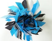 Reserved Listing for Crystal - Turquoise, Black, and Silver Ribbon Ponytail Holder / Streamer