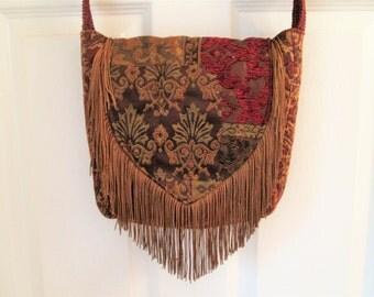 Bohemian Gypsy Tapestry Fringe Cross Body Messenger Bag