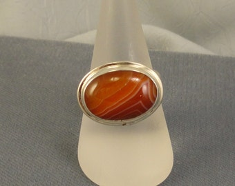 Banded Agate and Sterling Silver Oval Cabochon Ring