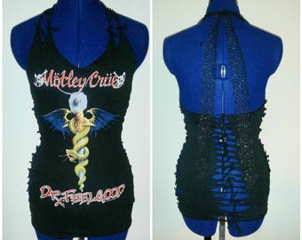MADE TO ORDER  Motley Crue Destroyed Fishnet Halter Top