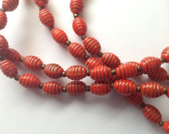 Sale  Vintage Long Incised Red Glass Bead Necklace