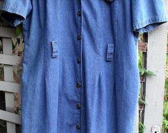 Denim Dress/ Size 16 Soft Washed Denim House Dress/ Button Front Denim Dress/ Shabbyfab Funwear