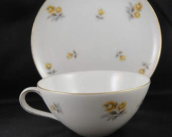 Ariel by Yamaka Japan Cup and Dessert Plate White China Yellow Roses
