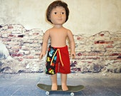 Board shorts 18 inch boy doll clothes summer red cartoon aliens monsters american made girl long tie green yellow black boardshorts