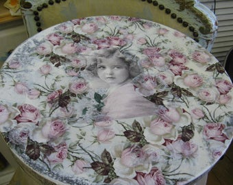Romantic Aged Nordic French Inspired Cottage Chic Hat Box with Roses Little Girl