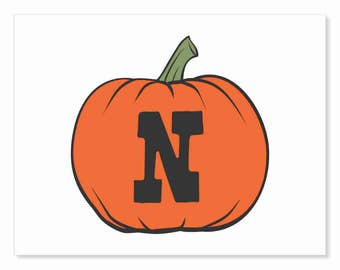 Printable Digital Download DIY - Fall Art Monogram Pumpkin - rOund N - Print frame or cut out for seasonal Halloween decorating orange black