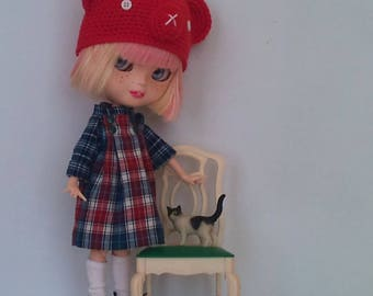 Cute checkers dress and matching animal hat for Blythe or Pullip