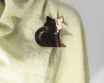 Cat Lapel Pin Kitty Brooch Multi color Fabric Fashion Accessory Purse pin scarf decoration cat-lovers gift Vet thank you teacher back school