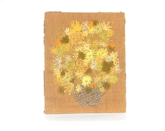 Vintage 1960s/70s Brown and Yellow Handmade Needle-Stitched Flower Picture