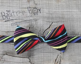 Mardi Gras diagonal stripe little boy bow tie - pre-tied, photo prop, wedding, ring bearer, accessory, birthday