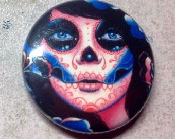 1 inch Pin Back Button - Memento - Day of the Dead Sugar Skull Calavera Tattoo Flash Butterfly Portrait Pinback Button Accessory