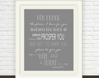 Jeremiah 29:11 Printable // Bible Verse Wall Art // Instant JPEG Download // Hope and Future Christian Print  // Grey White Scripture Art