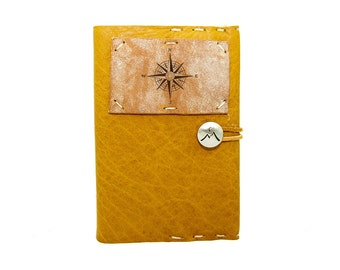 Small Leather Journal with True North Compass in Honey Ginger