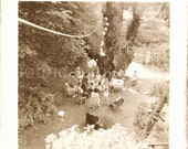 Vintage Photo, Backyard Birthday Party, Aerial View, Black & White Photo, Found Photo, Old Photo, Snapshot, Vernacular Photo *Augustine1476