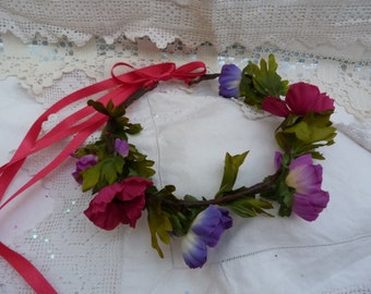 Purple and pink anemone flower crown - adjustable - wedding