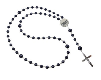 Pearl Night Blue Name & Date Rosary, Prayer beads with Medal, First Communion Rosary with Swarovski Pearls,  Baptism/ Communion/ Christening