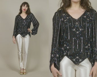 Black Sequin Top Beaded Blouse STARS 80s Cocktail Party Disco Art Deco Bell Sleeve Silk Jagged Hem Silver Trophy Blouse NYE / Os One Size