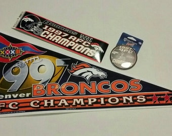 Vintage 1997 Denver Broncos AFC Champion pennant,  bumper sticker and pin, Fathers Day gift