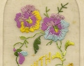 Embroidered Silk WW1 Card With Loving Wishes Remembrance  Silk Pansies – January 14th 1919 To Wife - Lovely Antique Ephemera