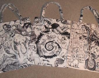 Tote Bag by David Jablow Doodle Pad Art Canvas 18x13