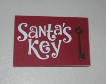 Santa' Key Wooden Sign - Wooden Christmas Sign, Santa's Key