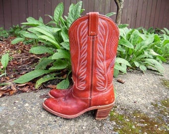 80s Red Oxblood HH Leather Campus Western Riding Hippie Boho Heeled Boots Womens 7