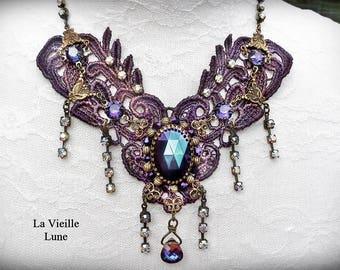 Purple Victorian Choker - Lace Choker, Lace Jewelry, Lace Necklace, Hand Beaded Jewelry