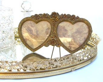 Vintage Matson Double Heart Frame, Ormolu Ornate Roses, Easel, Wedding Decor, Cottage Chic, F1777
