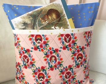 Alice in Wonderland Pillow Pocket Book Pillow Cover Quilted Pink Blue Gold Wonderland Cotton and Steel Pillow Cover