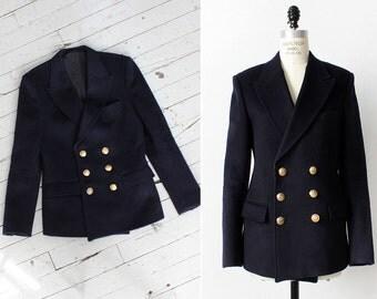 Tailored Coat L • Navy Peacoat • 80s Jacket • Double Breasted Blazer • Wool Jacket • Navy Blazer • Wool Blazer • Navy Jacket | O272