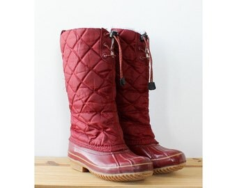 Bass Snow Boots 7-7 1/2 • Vintage Boots • 80s Boots • Burgundy Winter Boots • Duck Boots • Mid Calf Boots • Snow Shoes | SH434