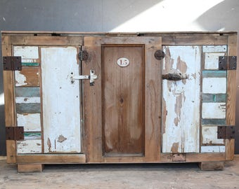 Industrial /Upcycled Wood Sideboard,Driftwood Vintage Up cycled Industrial Sideboard,Free Standing Cabinet,Old painted Wood Sideboard