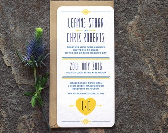 Scandi Wedding Invitation / 'Lovestruck' Mid-Century Modern Invite / Yellow Cobalt Navy / Custom Colours Available / ONE SAMPLE
