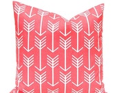 15% Off Sale Coral Pillow Covers - Coral and White Arrows - Throw Pillow Covers - Decorative Pillows - Nursery Decor - Coral Bedding - Coral