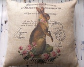 Easter Pillow - Vintage Bunny - Grainsack Style - Throw Pillow Cover - Two Designs - Easy Care Burlap - Spring Decor - Easter Decoration