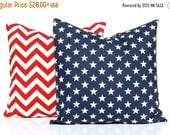 20% Off Sale Patriotic Pillow Covers - Throw Pillow Covers - Red Chevron Pillow Cover with Blue and White Stars Pillow Cover - 4th of July D