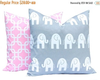 30% Off Sale Pillow Cover, Pink Pillow Cover, Baby, Baby Girl Nursery,Throw Pillow Covers, Gray Elephant Pillow, Set of 2 Pink and Gray Nurs